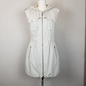 Theory Reece Hooded Sleeveless Safar Vest.